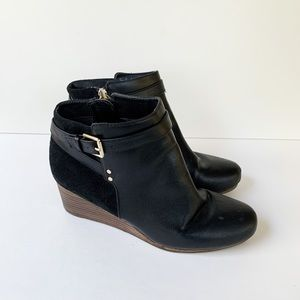 Dr Scholls Faux Black Leather Wedge Bootie 7